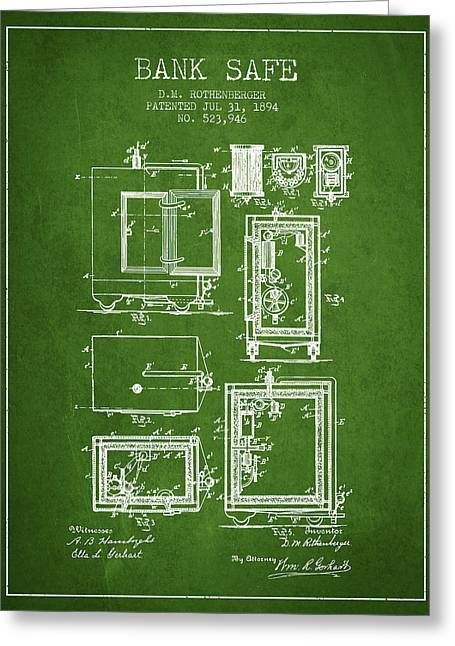 Bank Art Greeting Cards - 1894 Bank Safe Patent -green Greeting Card by Aged Pixel