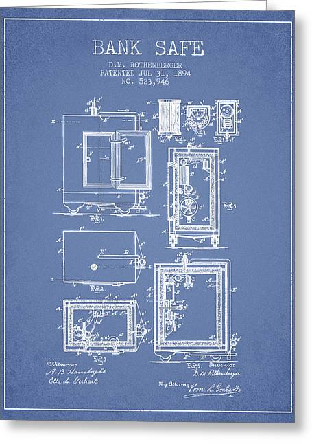 Bank Art Greeting Cards - 1894 Bank Safe Patent -light blue Greeting Card by Aged Pixel