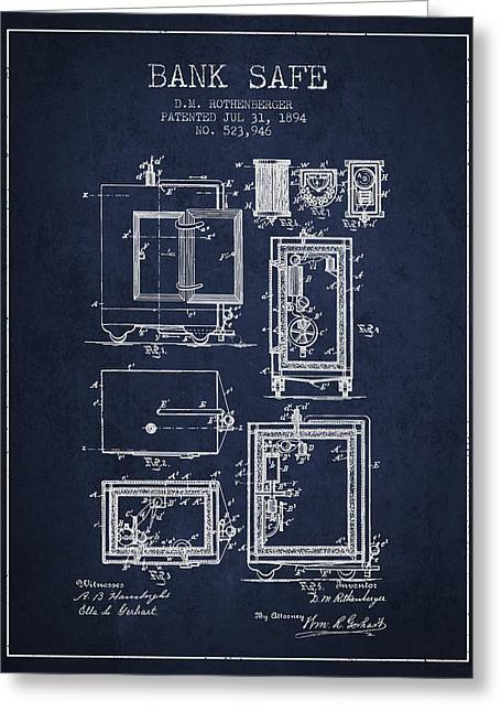 Bank Art Greeting Cards - 1894 Bank Safe Patent - navy blue Greeting Card by Aged Pixel