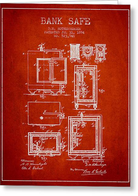 Bank Art Greeting Cards - 1894 Bank Safe Patent - red Greeting Card by Aged Pixel