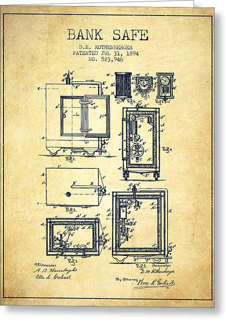 Bank Art Greeting Cards - 1894 Bank Safe Patent - vintage Greeting Card by Aged Pixel