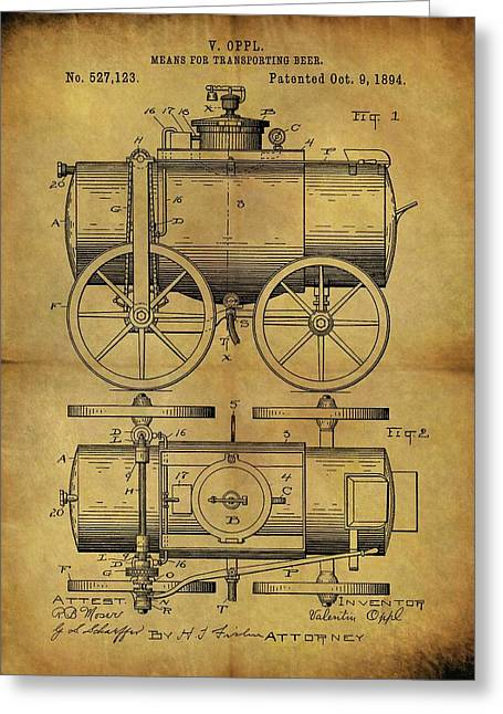 1894 Beer Wagon Patent Greeting Card by Dan Sproul