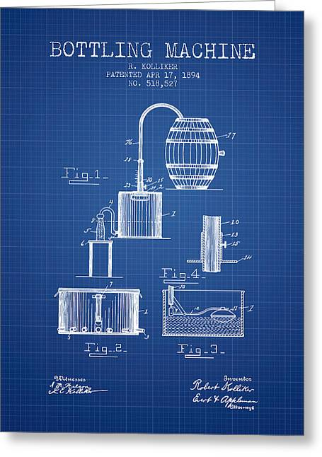 Beer Art Greeting Cards - 1894 Bottling Machine patent - Blueprint Greeting Card by Aged Pixel