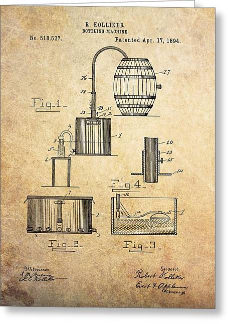 1894 Bottling Machine Patent Greeting Card by Dan Sproul