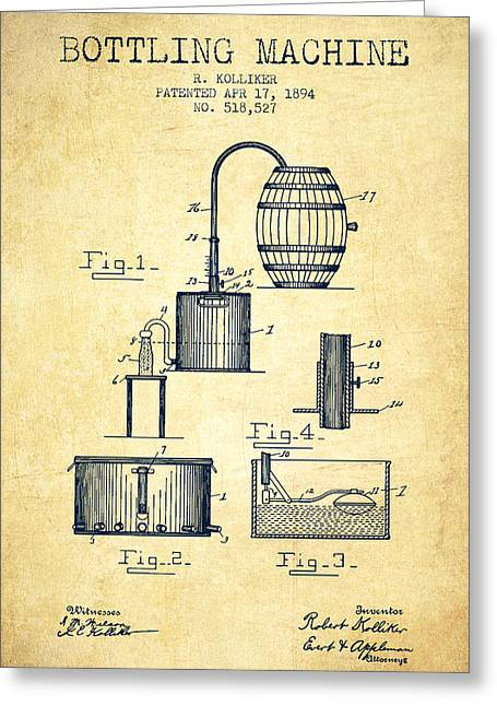 1894 Bottling Machine Patent - Vintage Greeting Card by Aged Pixel