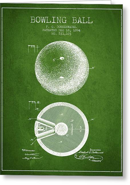 Boule Greeting Cards - 1894 Bowling Ball Patent - Green Greeting Card by Aged Pixel