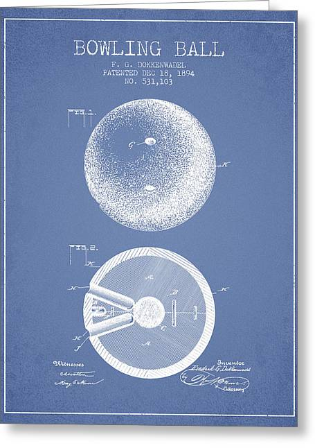 Boule Greeting Cards - 1894 Bowling Ball Patent - Light Blue Greeting Card by Aged Pixel
