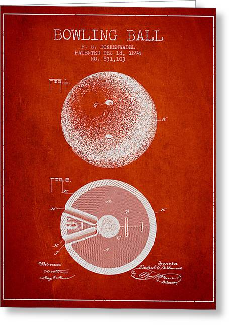 Boule Greeting Cards - 1894 Bowling Ball Patent - Red Greeting Card by Aged Pixel
