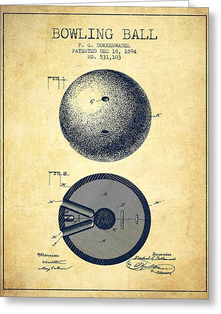 Boule Greeting Cards - 1894 Bowling Ball Patent - Vintage Greeting Card by Aged Pixel