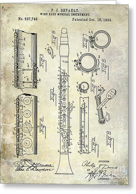 Philharmonic Greeting Cards - 1894 Clarinet Patent Greeting Card by Jon Neidert