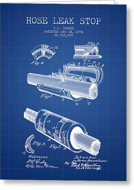 Rescue Greeting Cards - 1894 Hose Leak Stop Patent - Blueprint Greeting Card by Aged Pixel