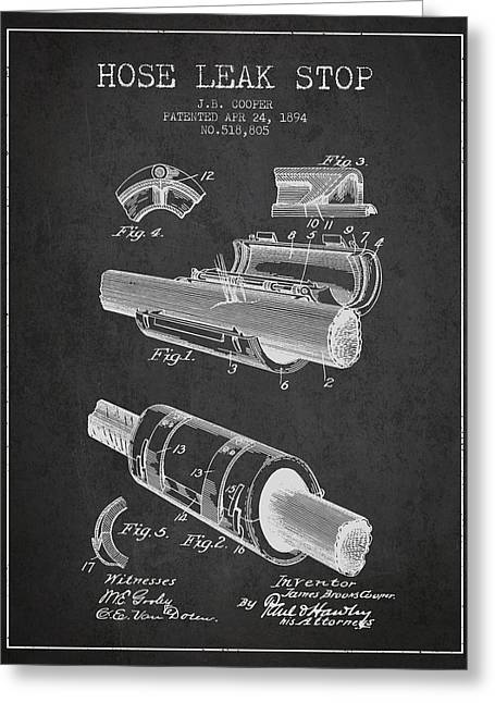 Rescue Greeting Cards - 1894 Hose Leak Stop Patent - Charcoal Greeting Card by Aged Pixel