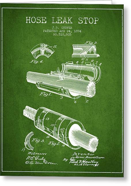 Rescue Greeting Cards - 1894 Hose Leak Stop Patent - Green Greeting Card by Aged Pixel