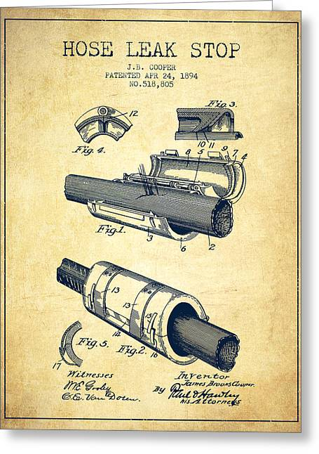 Rescue Greeting Cards - 1894 Hose Leak Stop Patent - Vintage Greeting Card by Aged Pixel