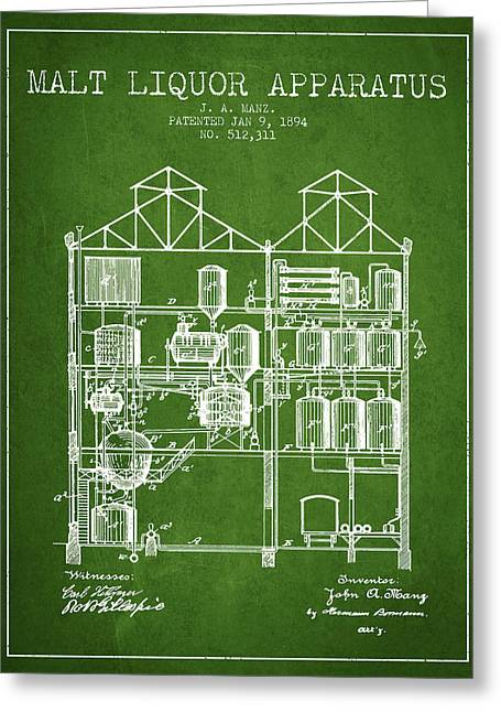 Cooler Greeting Cards - 1894 Malt Liquor Apparatus patent - Green Greeting Card by Aged Pixel