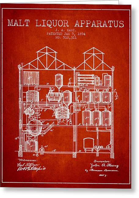 Cooler Greeting Cards - 1894 Malt Liquor Apparatus patent - Red Greeting Card by Aged Pixel