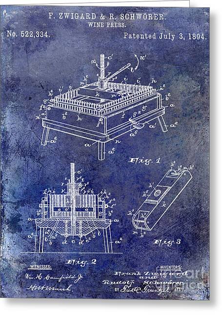 Wine Country. Greeting Cards - 1894 Wine Press Patent Blue Greeting Card by Jon Neidert
