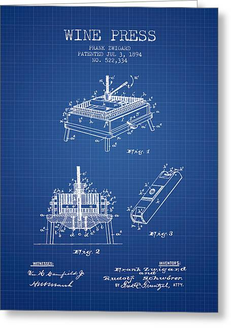 Wineries Drawings Greeting Cards - 1894 Wine Press Patent - blueprint Greeting Card by Aged Pixel