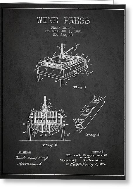 1894 Wine Press Patent - Charcoal Greeting Card by Aged Pixel