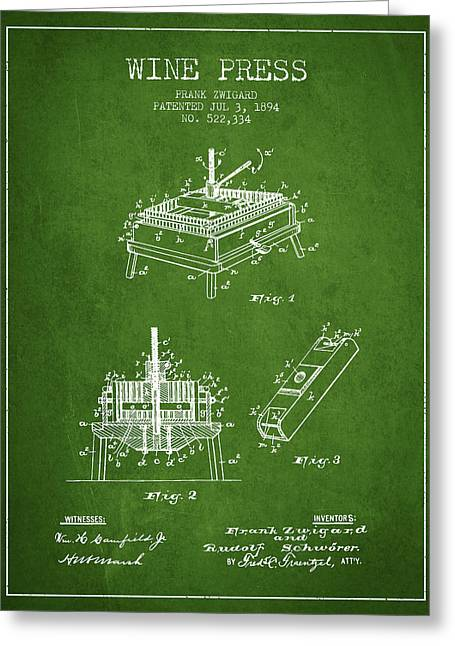 Wine Illustrations Drawings Greeting Cards - 1894 Wine Press Patent - green Greeting Card by Aged Pixel