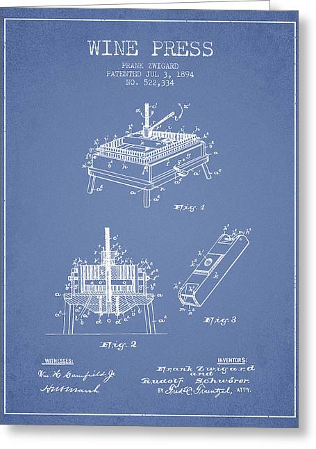 Wineries Drawings Greeting Cards - 1894 Wine Press Patent - light blue Greeting Card by Aged Pixel