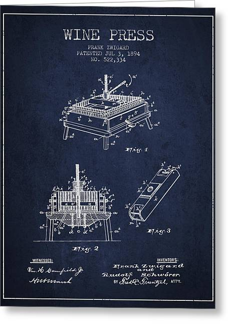 Wineries Drawings Greeting Cards - 1894 Wine Press Patent - navy blue Greeting Card by Aged Pixel