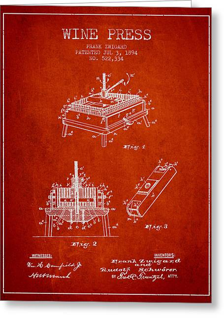 Red Wine Bottle Greeting Cards - 1894 Wine Press Patent - red Greeting Card by Aged Pixel