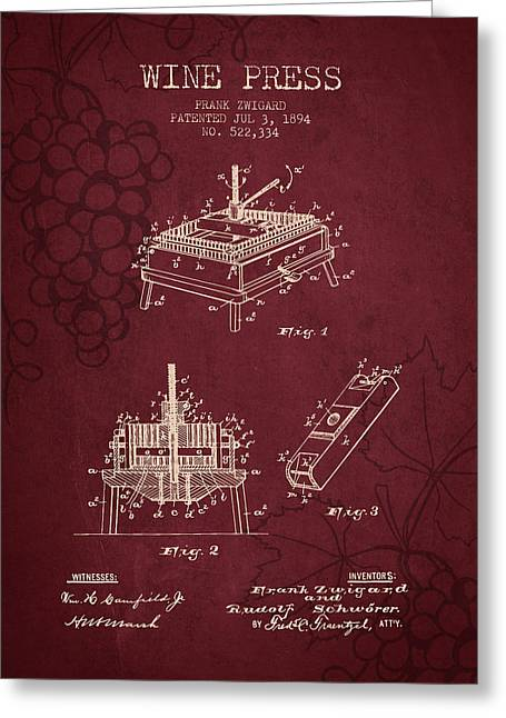 Red Wine Bottle Greeting Cards - 1894 Wine Press Patent - red wine Greeting Card by Aged Pixel
