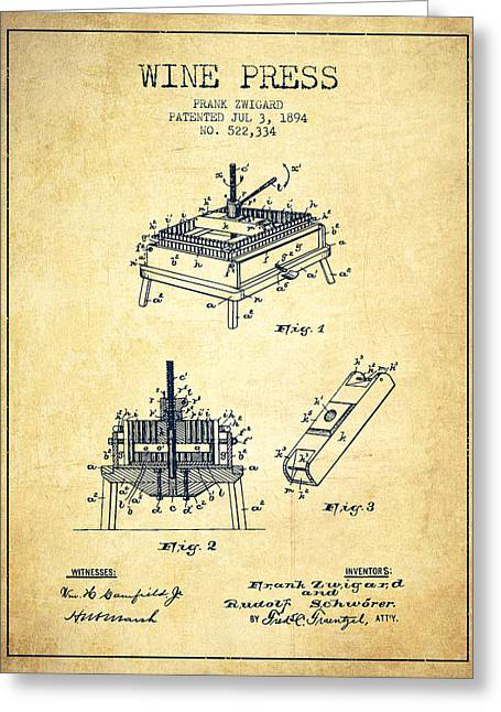 Wine Illustrations Drawings Greeting Cards - 1894 Wine Press Patent - vintage Greeting Card by Aged Pixel