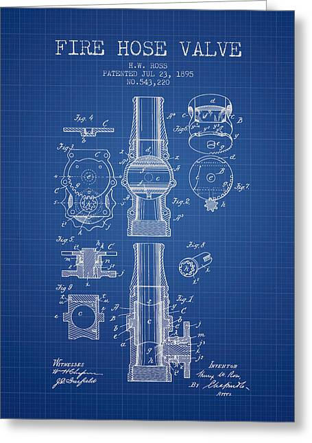 Fire Hose Greeting Cards - 1895 Fire Hose Valve Patent - Blueprint Greeting Card by Aged Pixel
