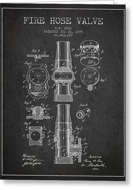 Fire Hose Greeting Cards - 1895 Fire Hose Valve Patent - Charcoal Greeting Card by Aged Pixel