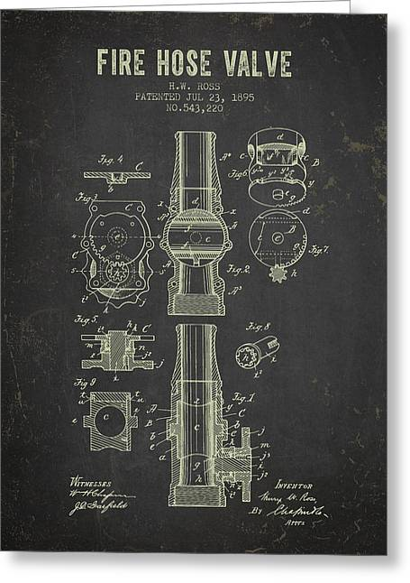 Hoses Greeting Cards - 1895 Fire Hose Valve Patent- Dark Grunge Greeting Card by Aged Pixel