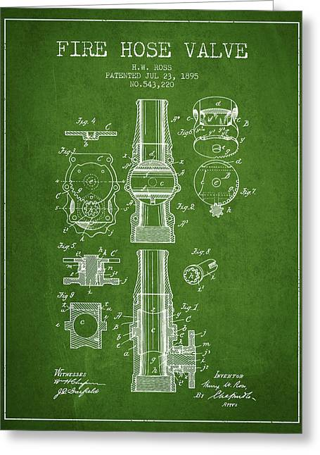 Rescue Greeting Cards - 1895 Fire Hose Valve Patent - Green Greeting Card by Aged Pixel