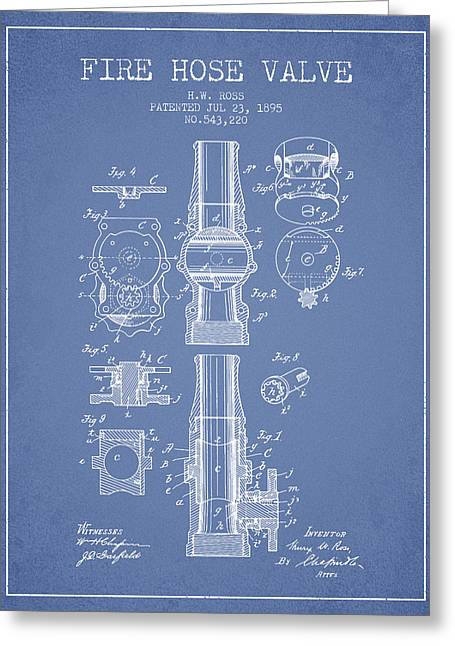 Fire Hose Greeting Cards - 1895 Fire Hose Valve Patent - Light Blue Greeting Card by Aged Pixel