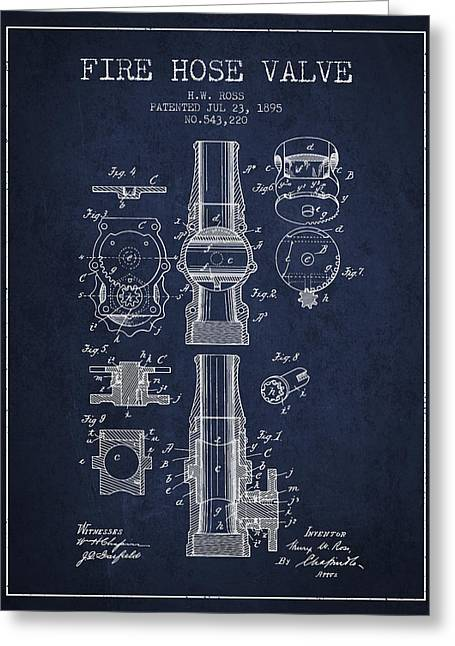 Rescue Greeting Cards - 1895 Fire Hose Valve Patent - Navy Blue Greeting Card by Aged Pixel