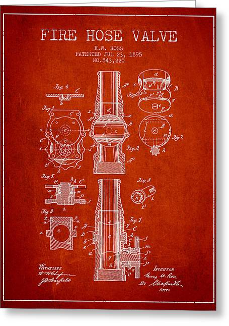 Rescue Greeting Cards - 1895 Fire Hose Valve Patent - Red Greeting Card by Aged Pixel