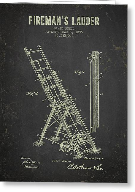 Rescue Greeting Cards - 1895 Firemans Ladder Patent - Dark Grunge Greeting Card by Aged Pixel