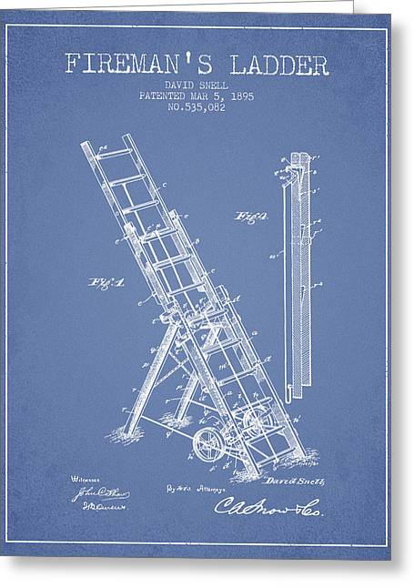 1895 Firemans Ladder Patent - Light Blue Greeting Card by Aged Pixel