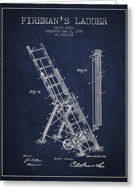 1895 Firemans Ladder Patent - Navy Blue Greeting Card by Aged Pixel