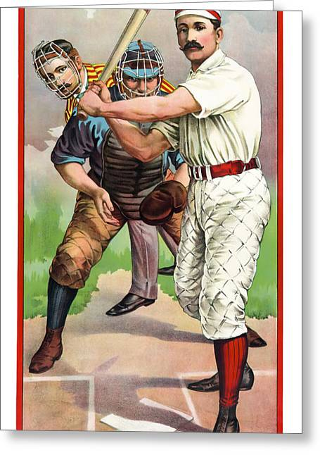 1895 In The Batters Box Greeting Card by Daniel Hagerman