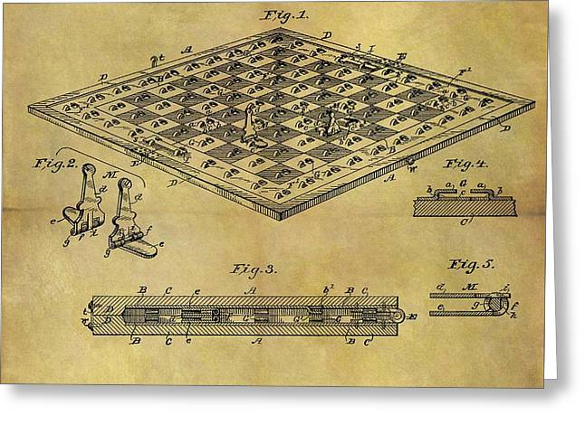 1896 Chess Set Patent Greeting Card by Dan Sproul