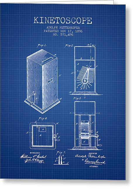 Camera Greeting Cards - 1896 Kinetoscope Patent - blueprint Greeting Card by Aged Pixel