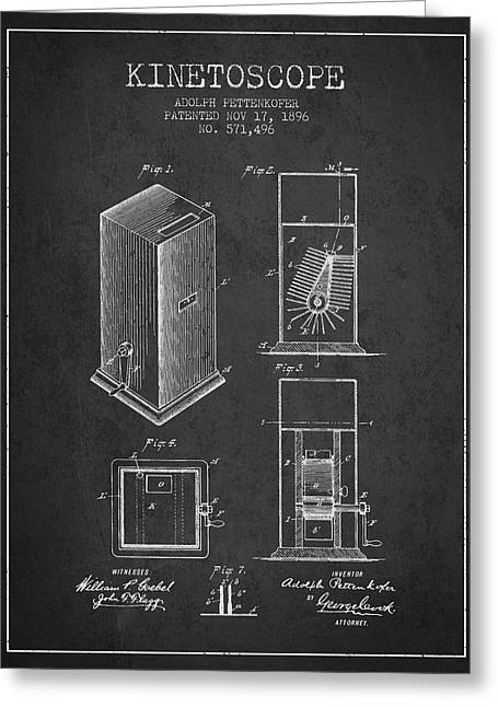 Camera Greeting Cards - 1896 Kinetoscope Patent - charcoal Greeting Card by Aged Pixel