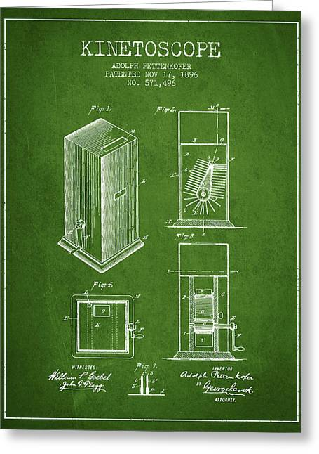 Exposure Drawings Greeting Cards - 1896 Kinetoscope Patent - green Greeting Card by Aged Pixel