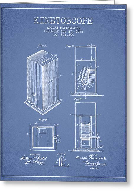 Exposure Drawings Greeting Cards - 1896 Kinetoscope Patent - light blue Greeting Card by Aged Pixel