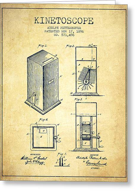 Exposure Drawings Greeting Cards - 1896 Kinetoscope Patent - vintage Greeting Card by Aged Pixel