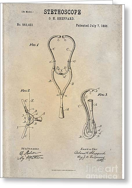 1896 Framed Prints Greeting Cards - 1896 Stethoscope Patent Art Sheppard 1 Greeting Card by Nishanth Gopinathan