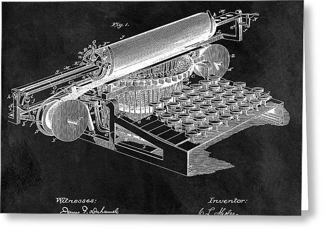 1896 Typewriter Patent Illustration Greeting Card by Dan Sproul