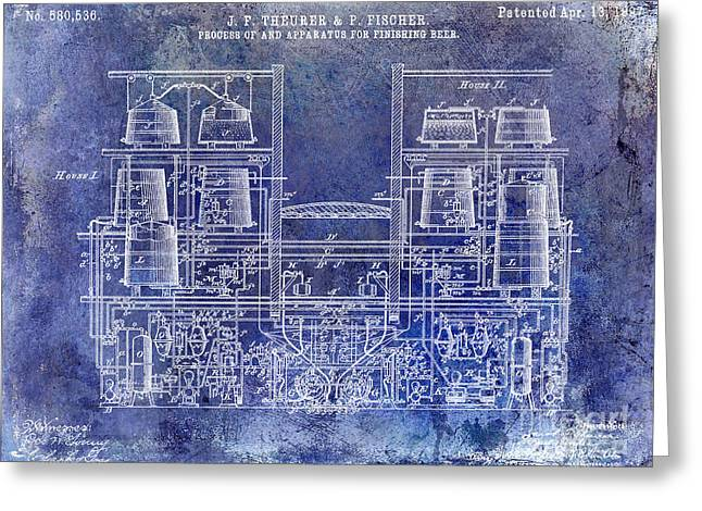 Stein Greeting Cards - 1897 Beer Brewering Patent Blue Greeting Card by Jon Neidert