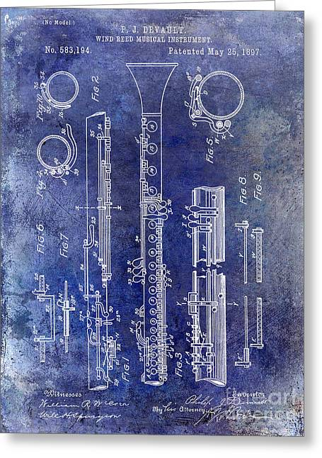 Philharmonic Greeting Cards - 1897 Clarinet Patent Blue Greeting Card by Jon Neidert